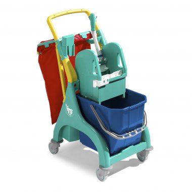 Carucior de curatenie profesional cu storcator mop Nick Plus 10 – Tecno Trolley System