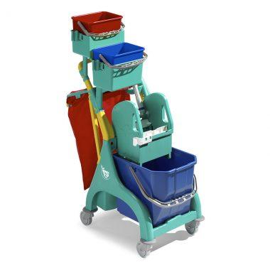 Carucior de curatenie profesional cu storcator mop Nick Plus 30 – Tecno Trolley System