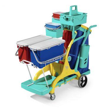 Carucior de curatenie profesional cu recipiente ermetice Nick Star Healthcare 2000 – Tecno Trolley System
