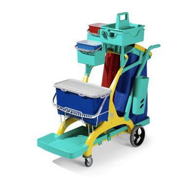 Carucior de curatenie profesional cu recipiente ermetice Nick Star Healthcare 2020 – Tecno Trolley System