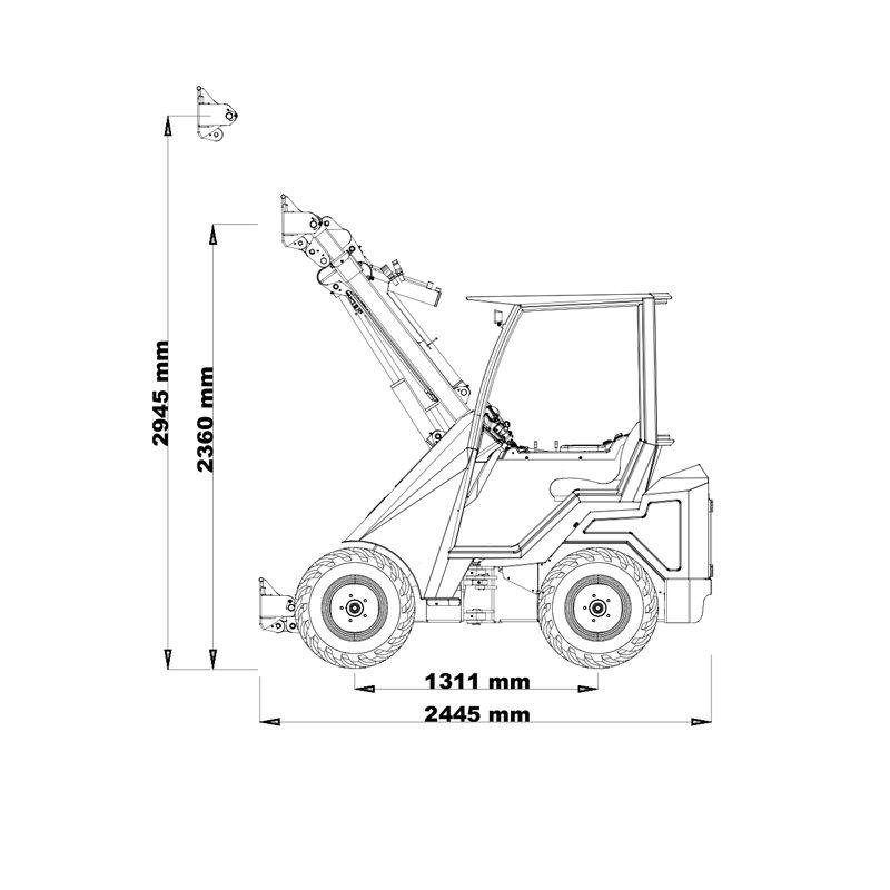 mini incarcator cast 23t schita1 Miniincarcator multifunctional  Cast 23T - 23CP - max. 950 kg - Unilift Cast 23T – 23CP