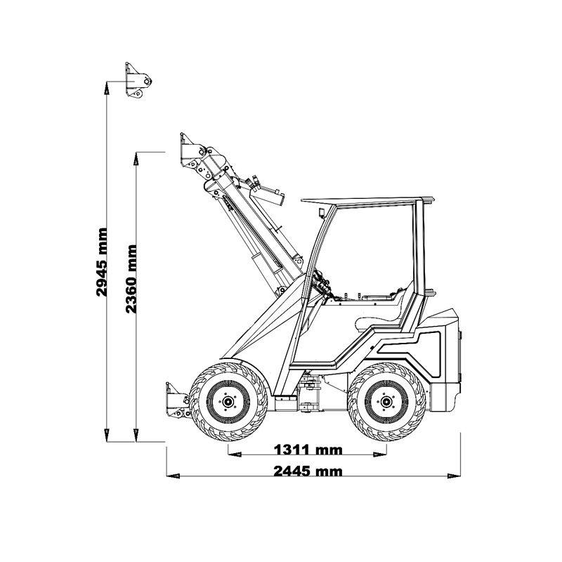 mini incarcator cast 30t schita1 Miniincarcator multifunctional  Cast 30T - 25CP - max. 950 kg - Unilift Cast 30T – 25CP