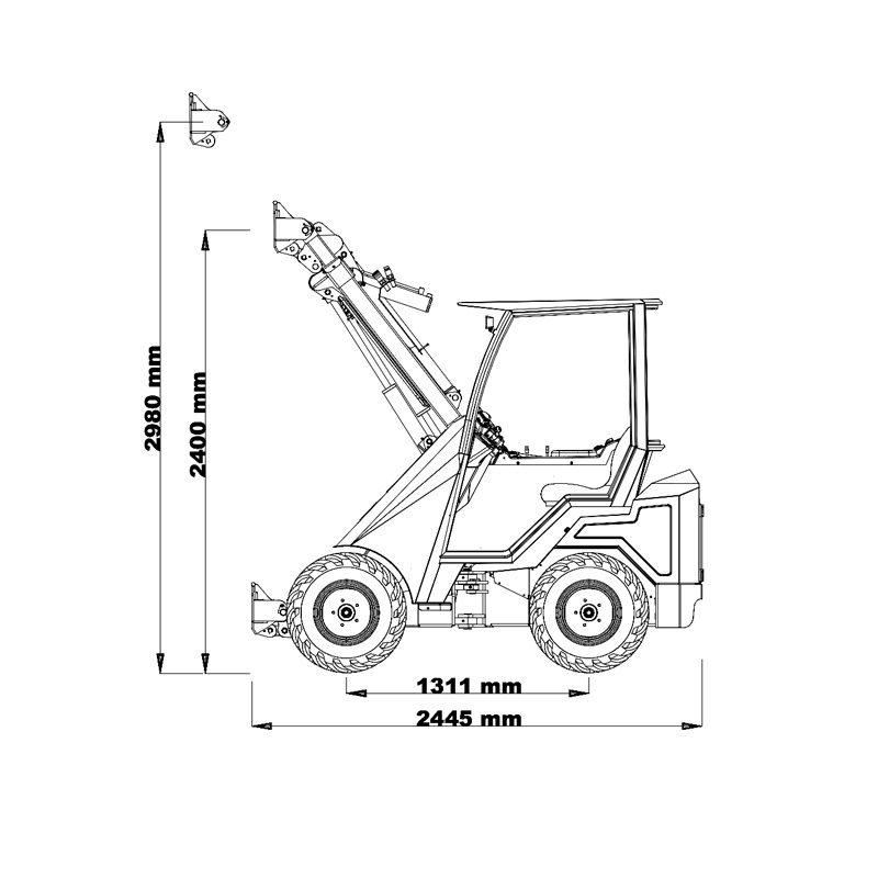 mini incarcator cast 33tlx schita1 Miniincarcator multifunctional  Cast 33TLX - 30CP - max. 950 kg - Unilift Cast 33TLX