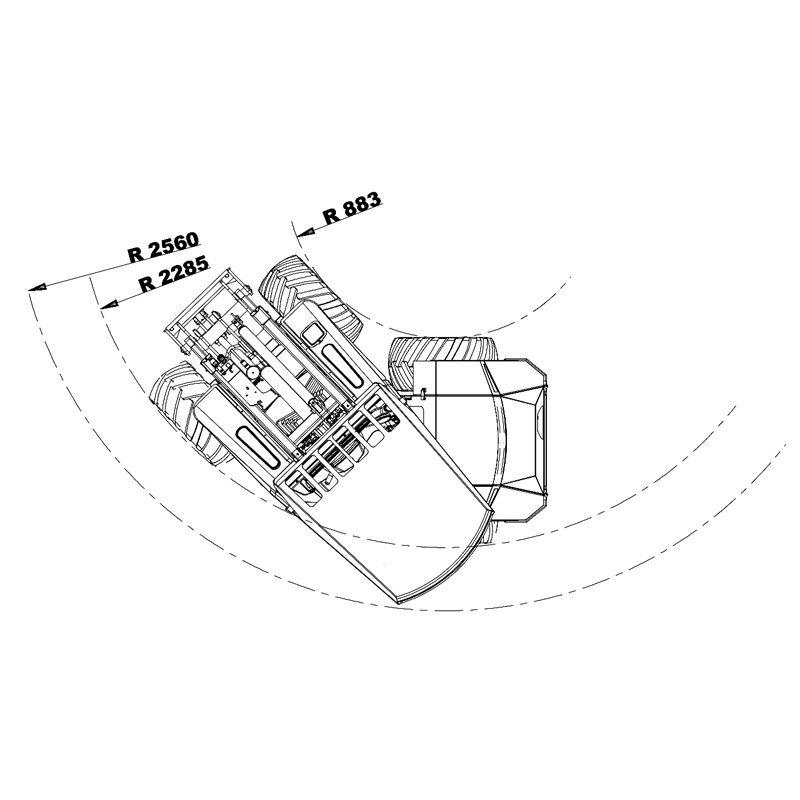 mini incarcator cast 33tlx schita3 Miniincarcator multifunctional  Cast 33TLX - 30CP - max. 950 kg - Unilift Cast 33TLX