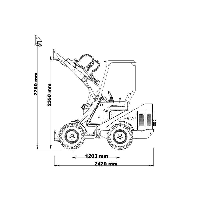 mini incarcator cast 35t schita1 Miniincarcator multifunctional  Cast 35T - 38CP - max. 800 kg - Unilift Cast 35T