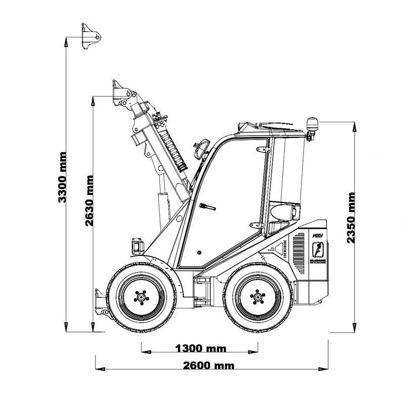 mini incarcator cast 45t schita1 Miniincarcator multifunctional Cast 45T - 38CP - max. 1000 kg - Unilift Cast 45T