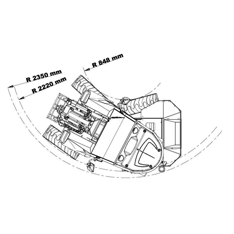 mini incarcator cast 45t schita3 Miniincarcator multifunctional Cast 45T - 38CP - max. 1000 kg - Unilift Cast 45T