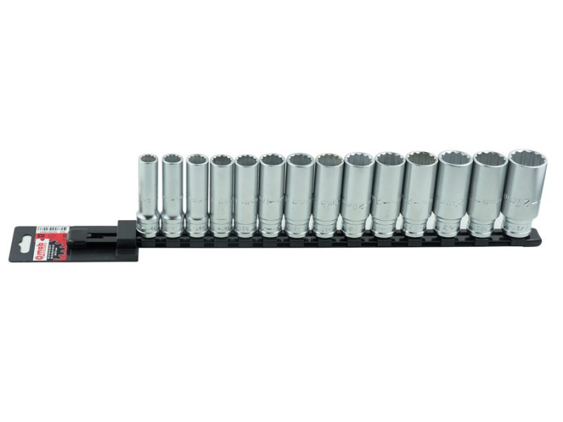 "Set 14 capete chei tubulare lungi 127 mm DH pe suport metalic Set 14 capete chei tubulare lungi 1/2"" DH pe suport metalic   Mob-Ius - Unilift"
