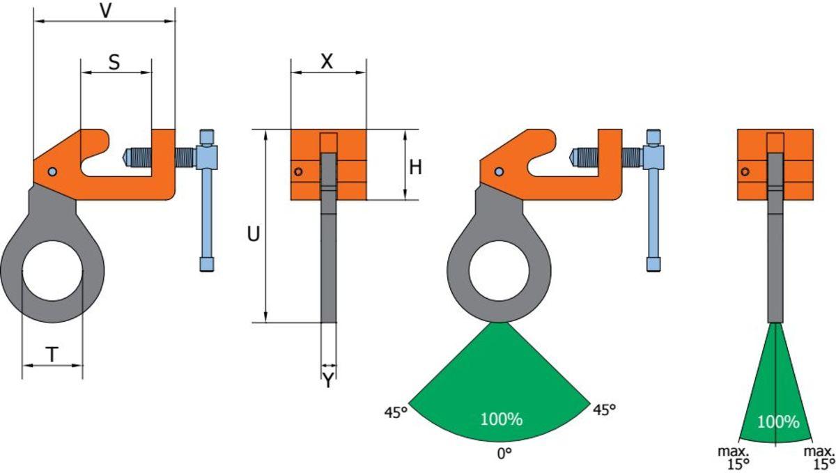 BSW grau orange 1 Clamp de ancorare BSW pentru placi din otel cu profil | PeWag - Unilift