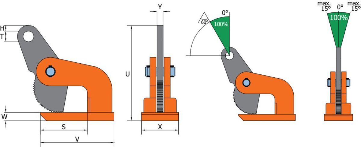 DHW grau orange neu Clamp de ridicare orizontala DHW pentru placi de metal | PeWag - Unilift