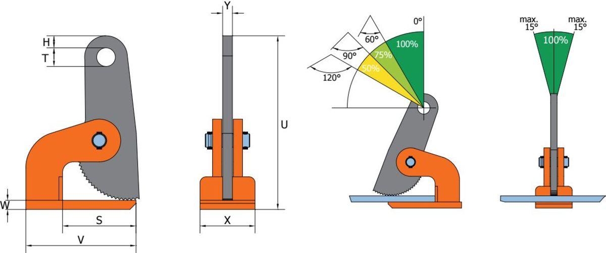 HXW HSXW grau orange Clamp de ridicare orizontala HXW/HSXW pentru placi de metal   PeWag - Unilift