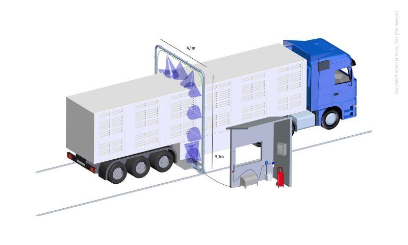 IBG Idrotech Misting Industriale Ida fronte0 Poarta de dezinfectie Ida pentru tiruri   Idrobase - Unilift