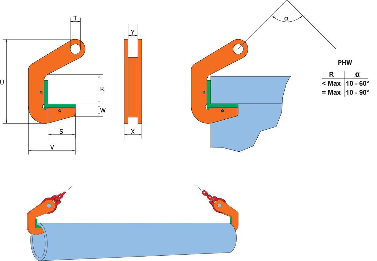 PHW grau orange221d Ancora PHW/PHW-HG pentru tevi din otel | PeWag - Unilift