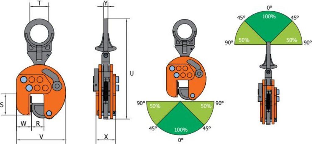 VEUW A grau orange Clamp de ridicare ajustabil VEUW-A pentru placi de metal | PeWag - Unilift