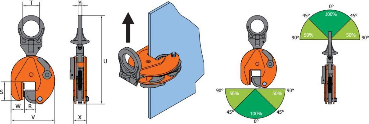 VHPUW grau orange Clamp de ridicare cu inel de atasare mobil VHPUW pentru placi de metal   PeWag - Unilift