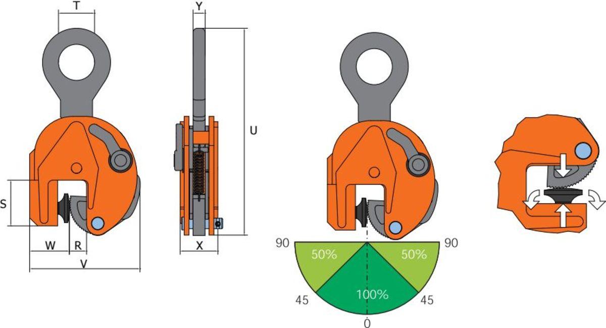 VJPW grau orange Clamp de ridicare cu buton de amortizare VJPW pentru placi de metal | PeWag - Unilift