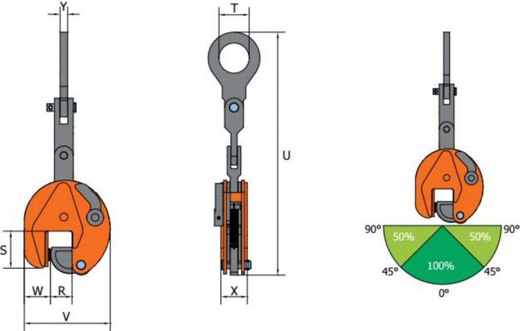VMPW SVMPW grau orange Clamp de ridicare VMPW/VEMPW/SVMPW pentru placi de metal | PeWag - Unilift