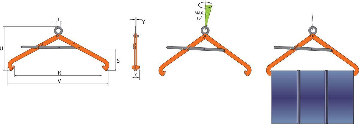 VSHW grau orange Clamp de ridicare orizontala VSHW pentru butoaie din metal | PeWag - Unilift